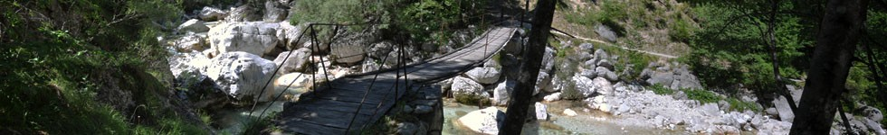 Confluence of Soca and Mlinarica - Hanging wooden footbridge