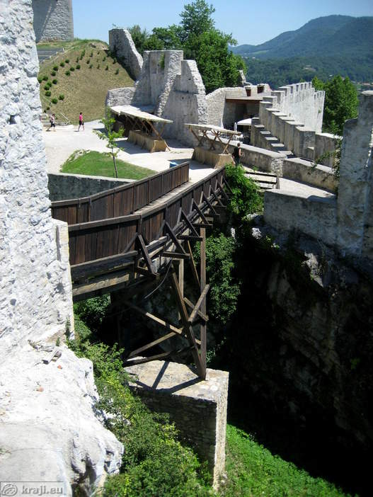 Drawbridge above moat